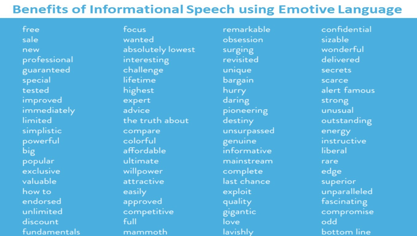 Benefits Of Informational Speech Using Emotive Language